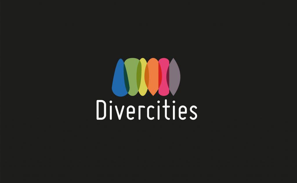 Logo de Divercities sur fond noir. 6 formes différents avec plusieurs couleurs