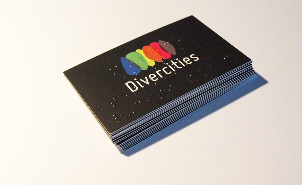 Carte de visite de Divercities avec du braille