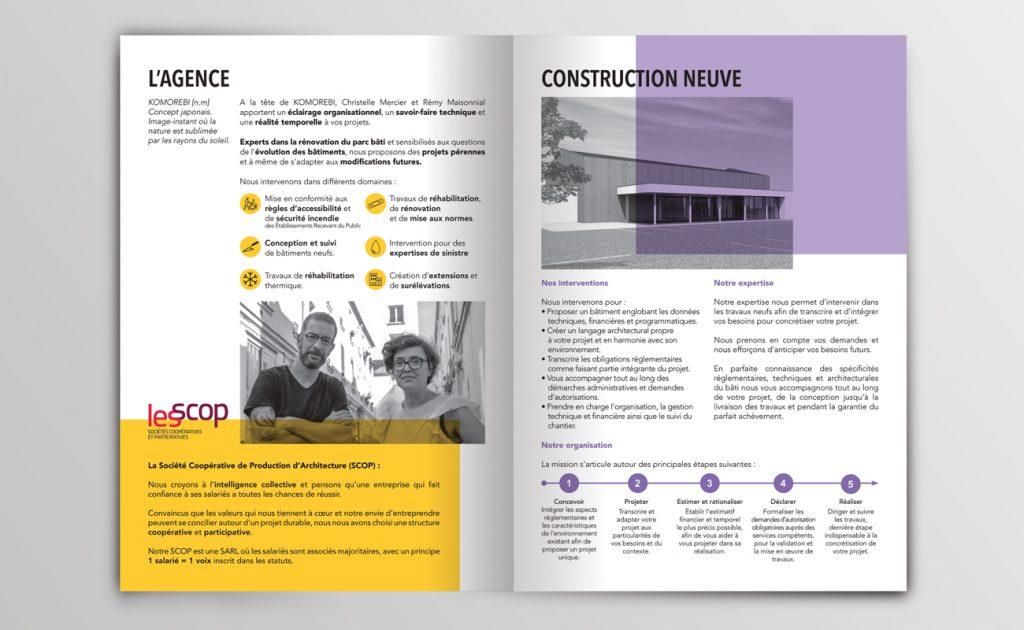 Pages intérieures d'une brochure. Colorée, utilisation de pictogrammes.
