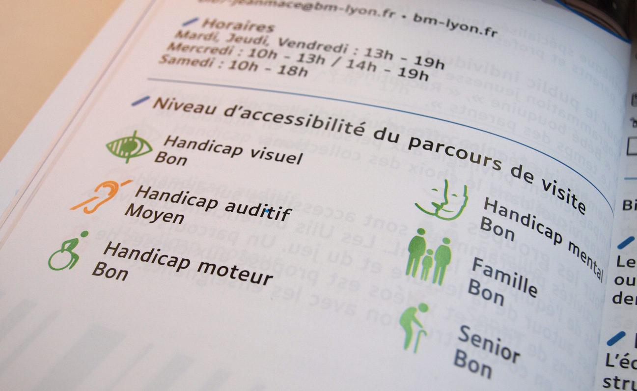 Utilisation de pictogrammes pour donner le niveau d'accessibilité du parcours de visite