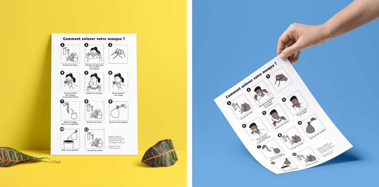 Des affiches A4 en couleurs ou en noir et blanc pour expliquer comment enlever son masque sans risque.