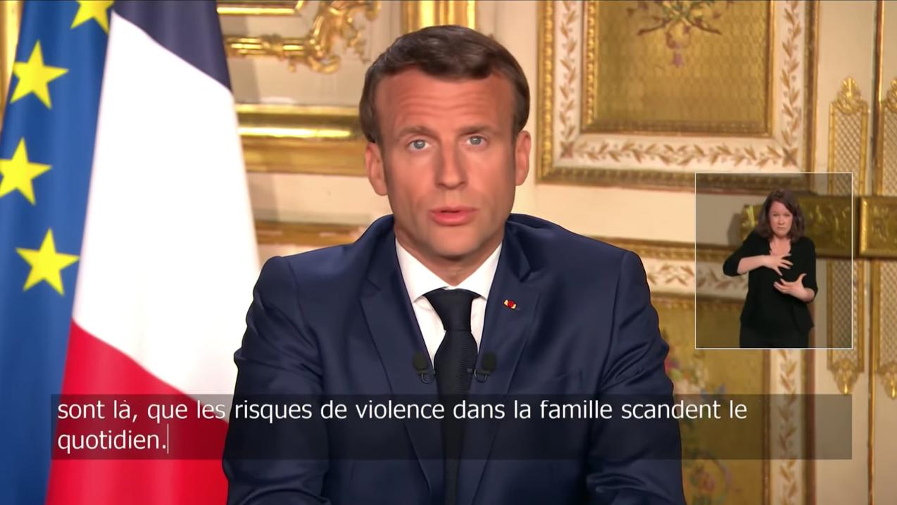 Discours d'Emmanuel Macron diffusé en direct le 13 avril 2020 avec une interprète LSF et sous-titré.