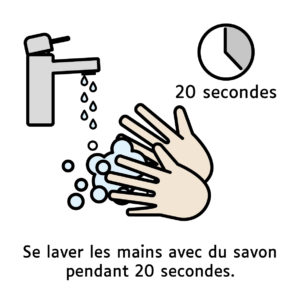 Pictogramme illustrant le lavage des mains pendant 20 secondes
