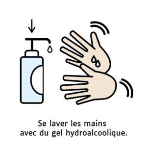 Se laver les mains avec du gel hydroalcoolique.