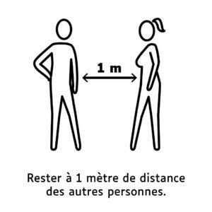 Rester à un mètre de distance des autres personnes.