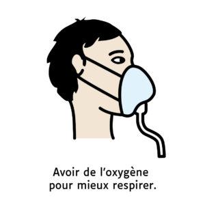 Pictogramme d'une personne avec un masque à oxygène.