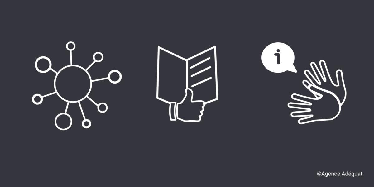 Pictogramme d'un virus, du Facile à Lire et à Comprendre et de deux mains en train de signer.