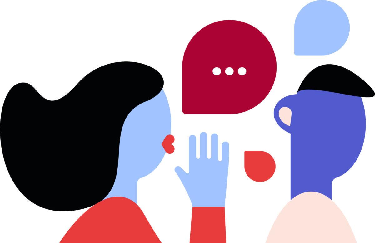 Illustration colorée d'une femme parlant à l'oreille d'un homme.