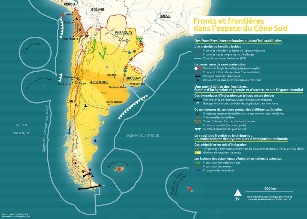 Cartographie d'Arthur Beaubois-Jude sur les frontières d'Amérique du Sud