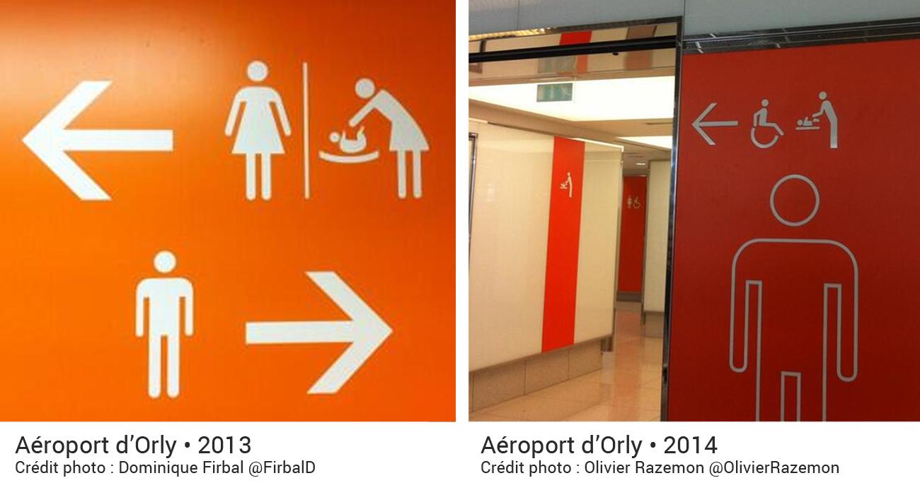 Aéroport d'Orly en 2013 : Pictogramme indiquant les toilettes femmes avec une table à langer. Aéroport d'Orly en 2014 indiquant un pictogramme des toilettes hommes avec un pictogramme de table à langer.