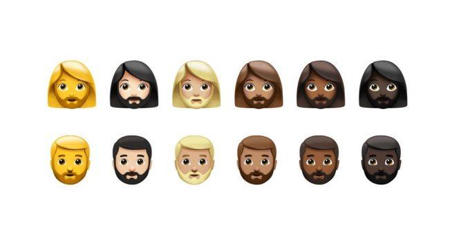 Représentation de visages avec des couleurs de peaux différentes, des cheveux courts ou longs, avec des barbes