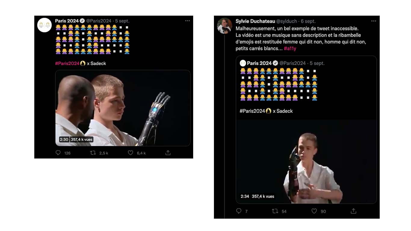"""A gauche, une capture d'écran du tweet avec une vidéo et le chiffre """"2024"""" formé par divers emojis. A droite le tweet d'une utilisatrice disant : """"Malheureusement, un bel exemple de tweet inaccessible. La vidéo est une musique sans description et la ribambelle d'emojis est restituée femme qui dit non, homme qui dit non, petit carré blanc..."""""""