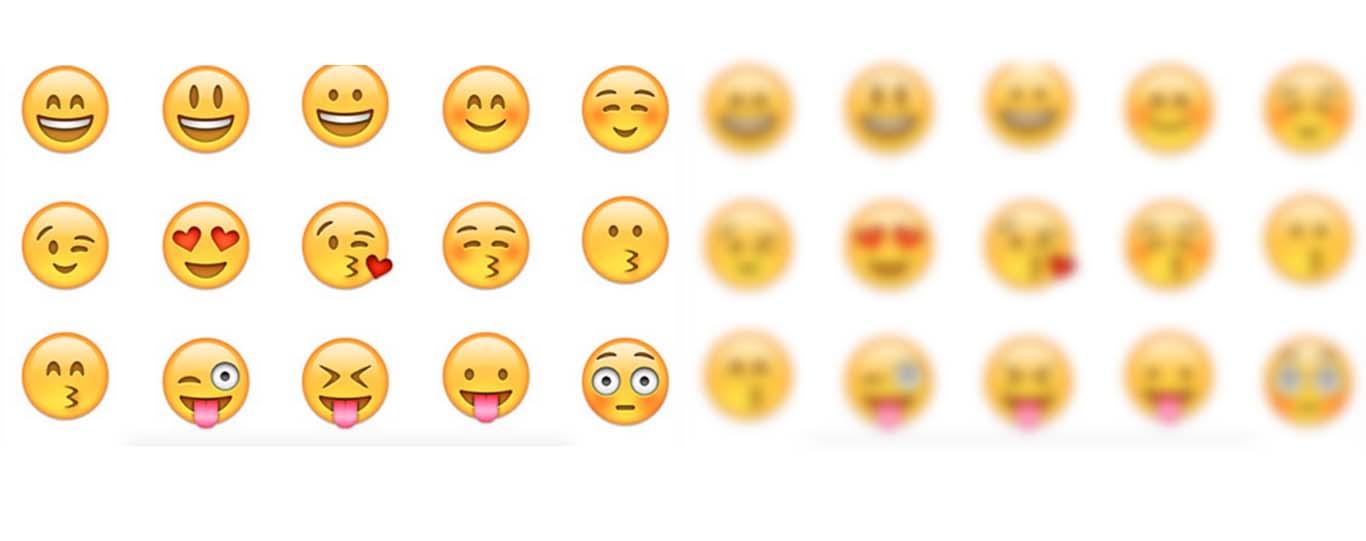 A gauche, plusieurs emojis de visages jaunes souriants ou tirant la langue. A droite, les mêmes visages floutés sont plus difficiles à comprendre.