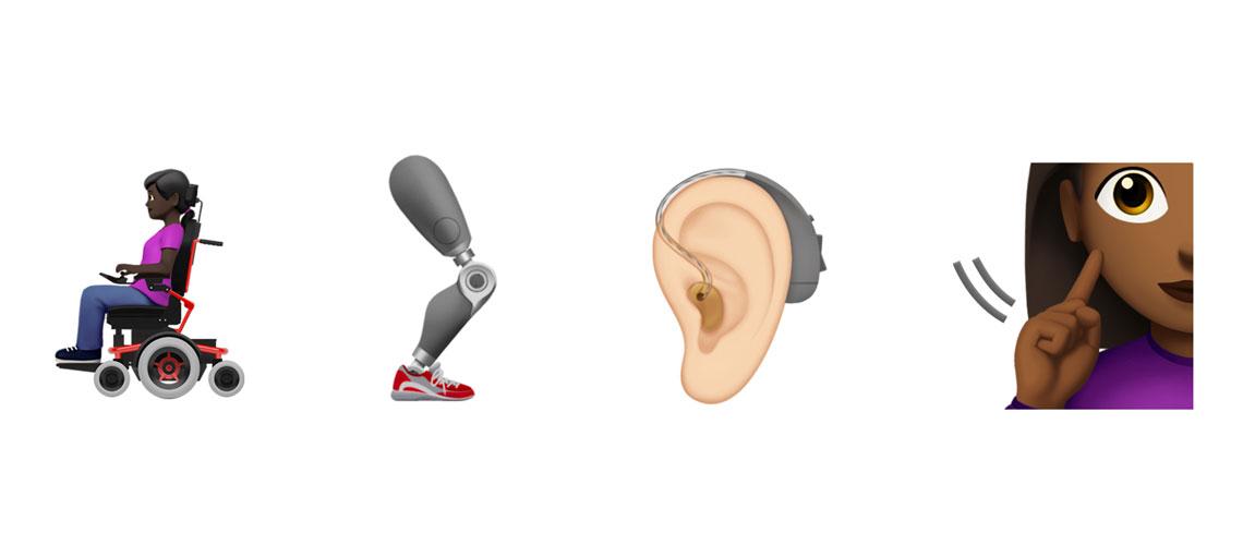 Quatre emojis représentant un fauteuil électrique, un appareil auditif, une prothèse de jambe et une personne signante.